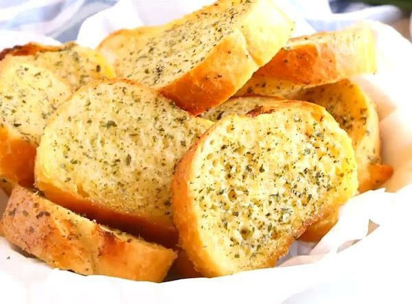 home made garlic bread using slices bread