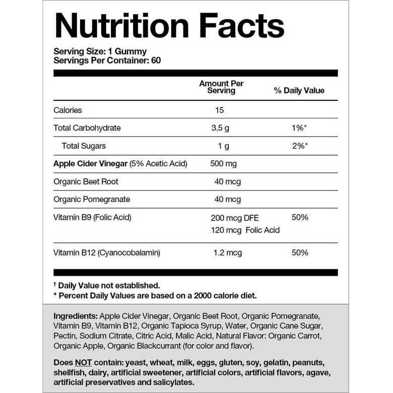 Goli Nutrition facts